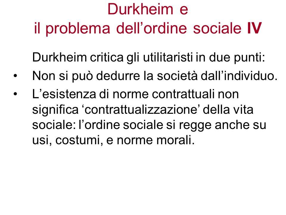 Durkheim e il problema dell'ordine sociale IV