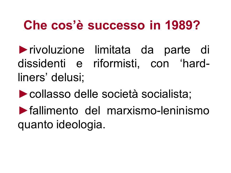 Che cos'è successo in 1989 ►collasso delle società socialista;