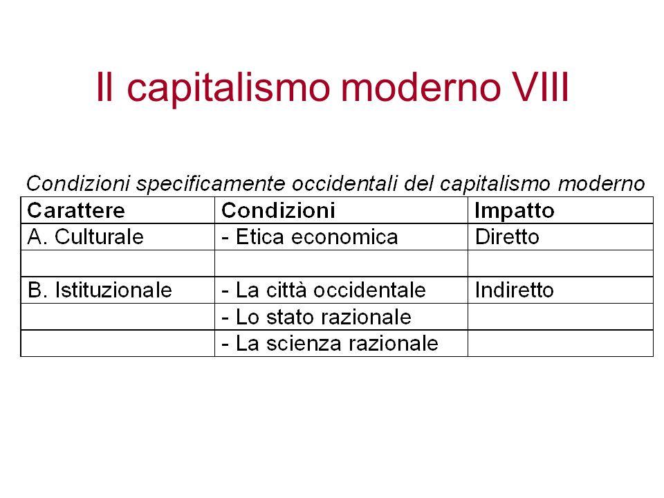 Il capitalismo moderno VIII