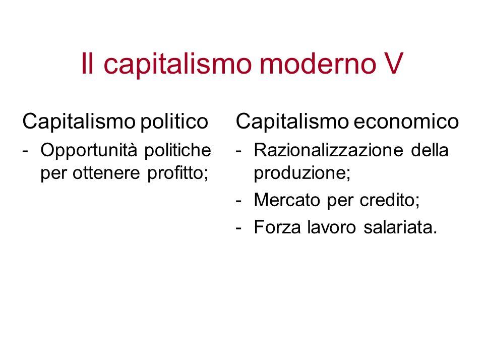 Il capitalismo moderno V