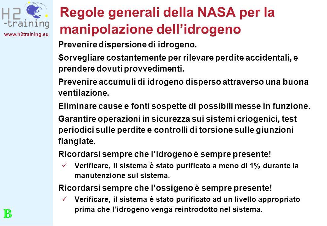 Regole generali della NASA per la manipolazione dell'idrogeno