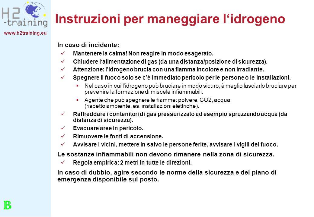 Instruzioni per maneggiare l'idrogeno