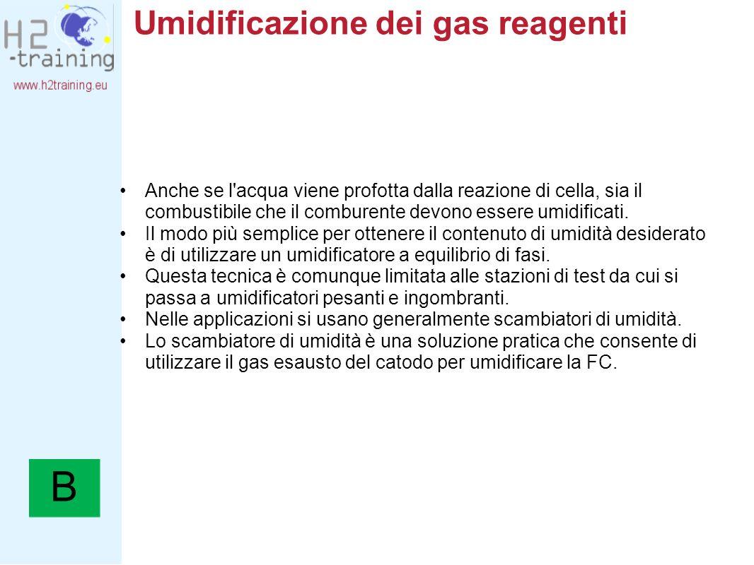 Umidificazione dei gas reagenti