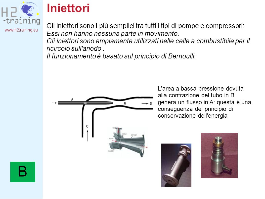 Iniettori Gli iniettori sono i più semplici tra tutti i tipi di pompe e compressori: Essi non hanno nessuna parte in movimento.