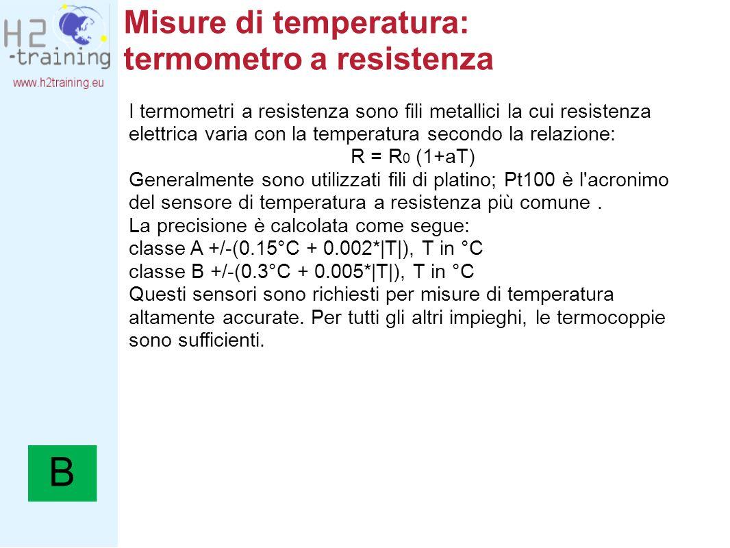 Misure di temperatura: termometro a resistenza