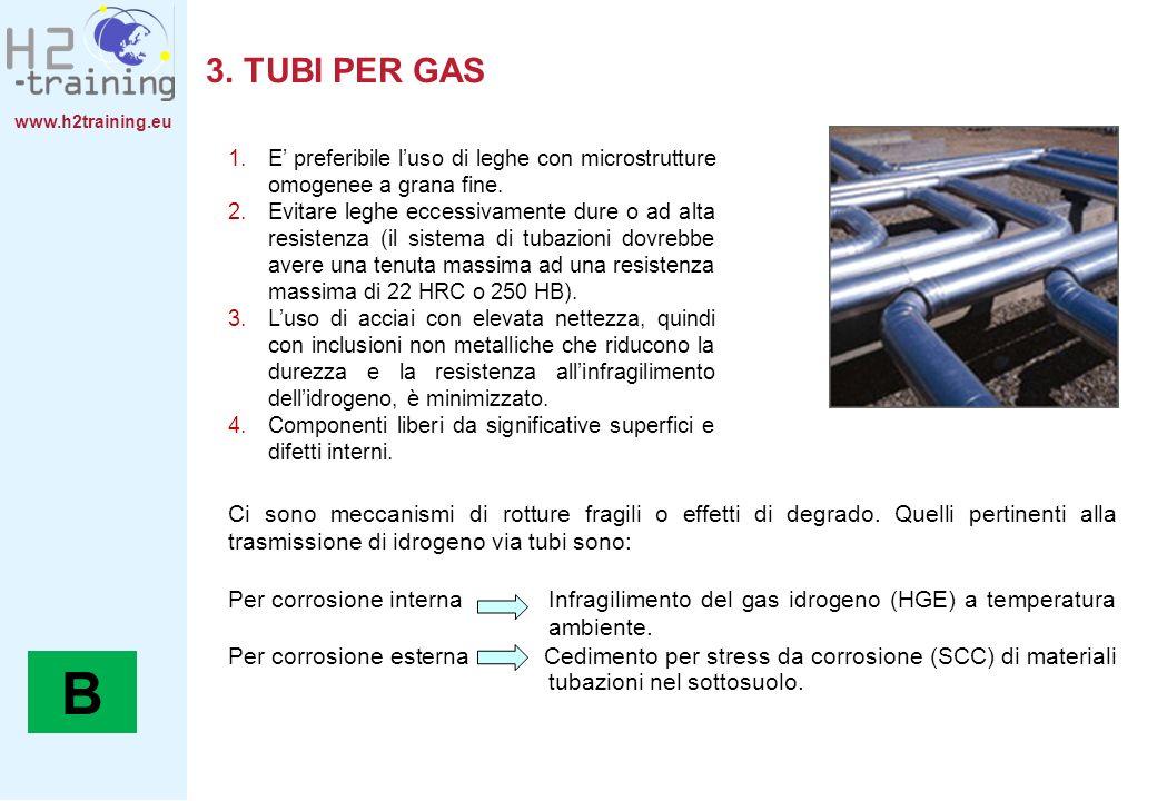 3. TUBI PER GAS E' preferibile l'uso di leghe con microstrutture omogenee a grana fine.
