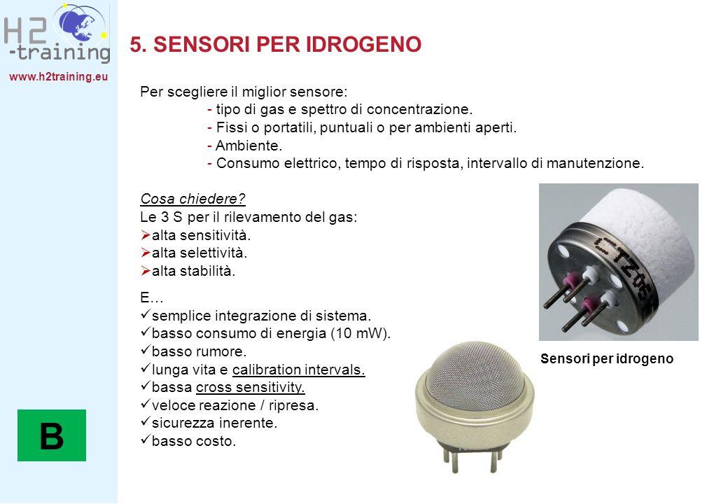 B 5. SENSORI PER IDROGENO Per scegliere il miglior sensore: