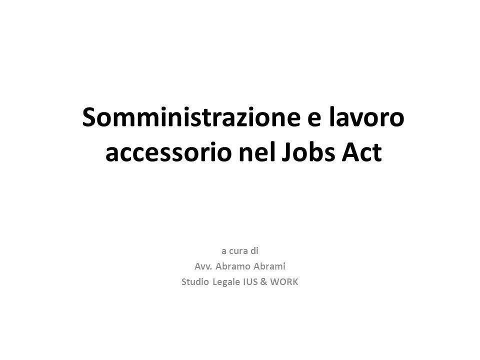 Somministrazione e lavoro accessorio nel Jobs Act