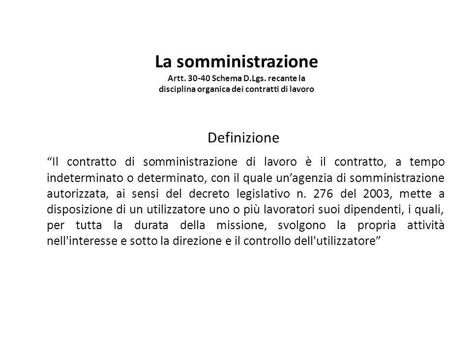 La somministrazione Artt. 30-40 Schema D. Lgs