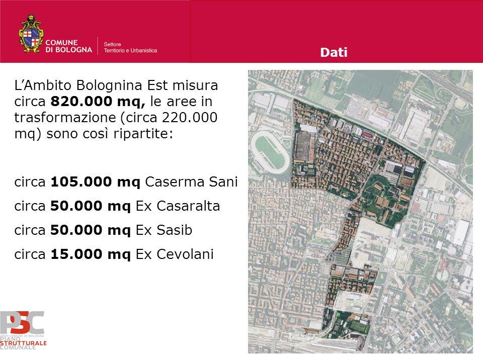 Dati L'Ambito Bolognina Est misura circa 820.000 mq, le aree in trasformazione (circa 220.000 mq) sono così ripartite: