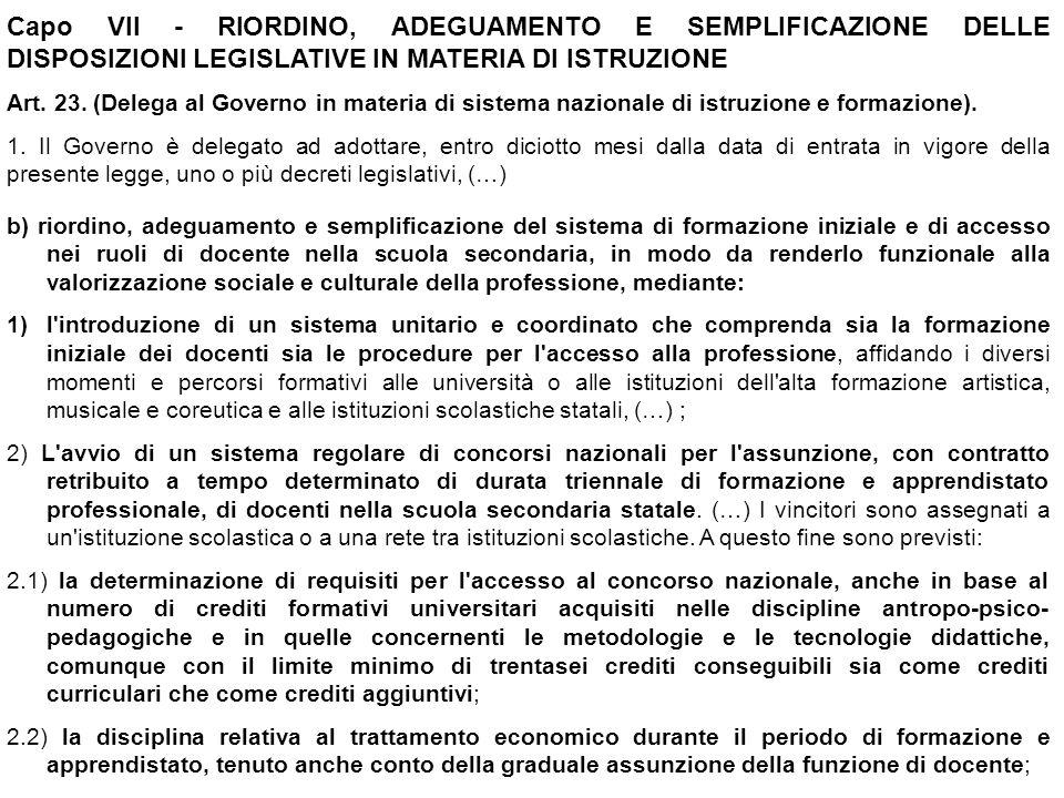 Capo VII - RIORDINO, ADEGUAMENTO E SEMPLIFICAZIONE DELLE DISPOSIZIONI LEGISLATIVE IN MATERIA DI ISTRUZIONE