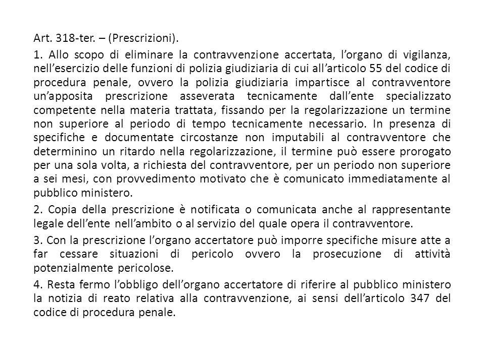 Art. 318-ter. – (Prescrizioni).