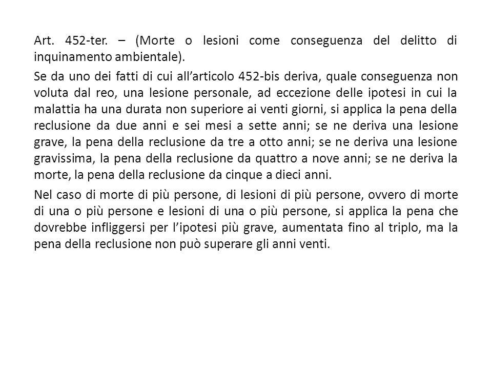 Art. 452-ter. – (Morte o lesioni come conseguenza del delitto di inquinamento ambientale).