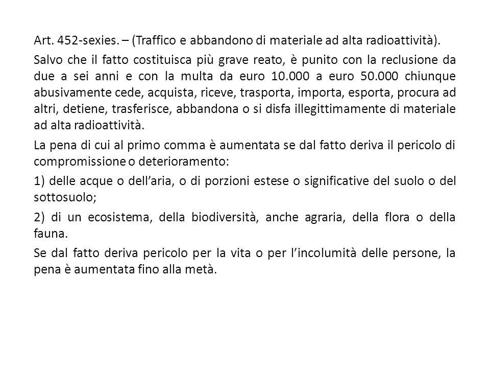 Art. 452-sexies. – (Traffico e abbandono di materiale ad alta radioattività).