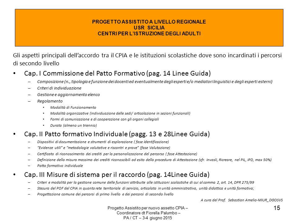 Cap. I Commissione del Patto Formativo (pag. 14 Linee Guida)
