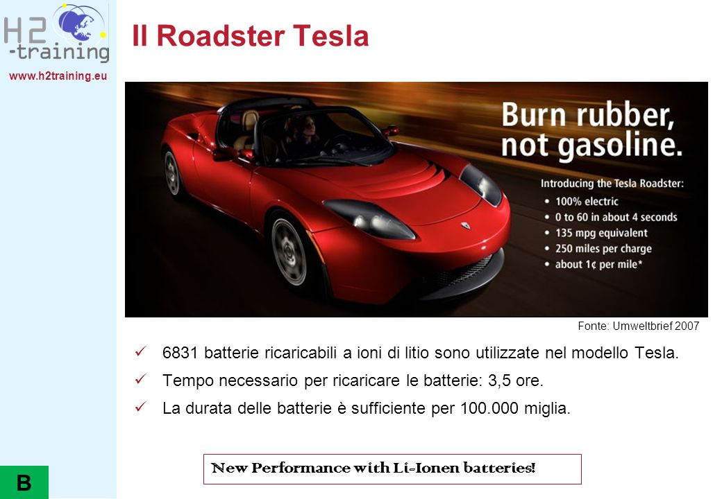 Il Roadster Tesla B New Performance with Li-Ionen batteries!