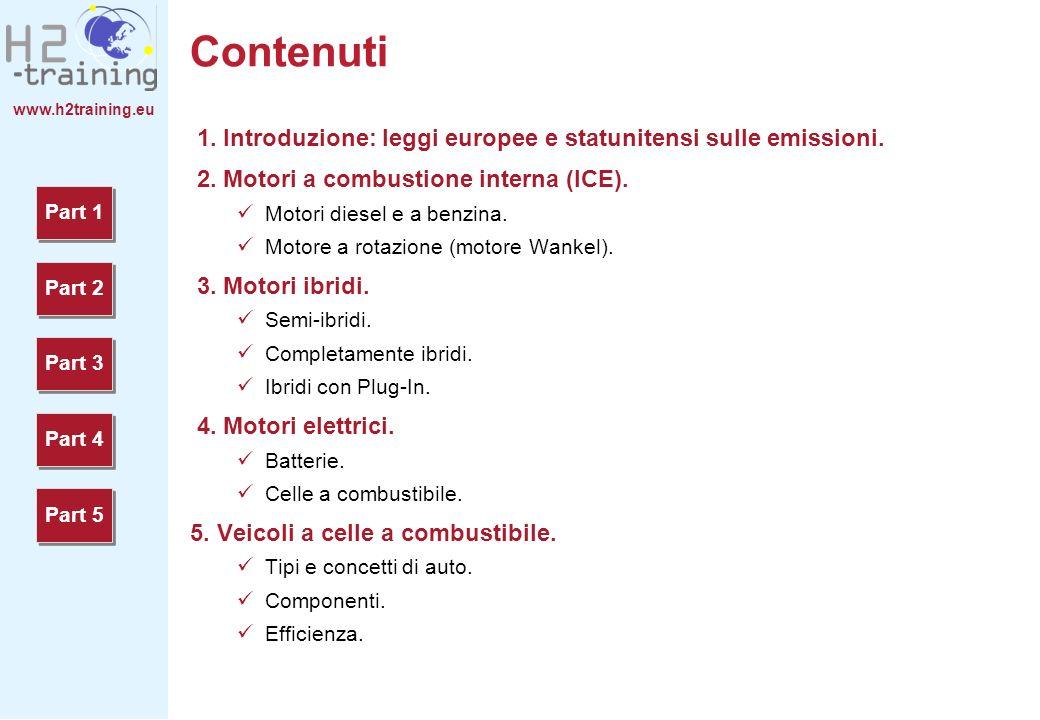H2 Training Manual Contenuti. 1. Introduzione: leggi europee e statunitensi sulle emissioni. 2. Motori a combustione interna (ICE).