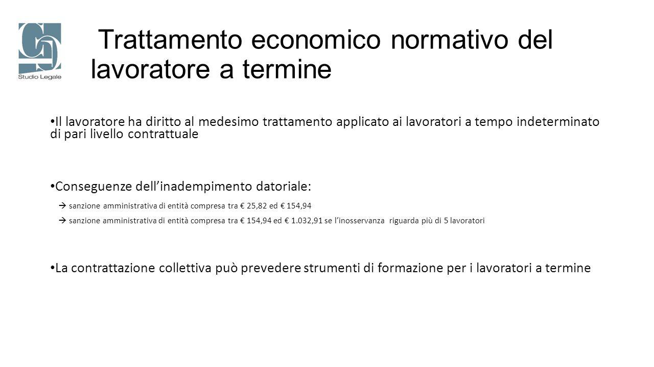 Trattamento economico normativo del lavoratore a termine