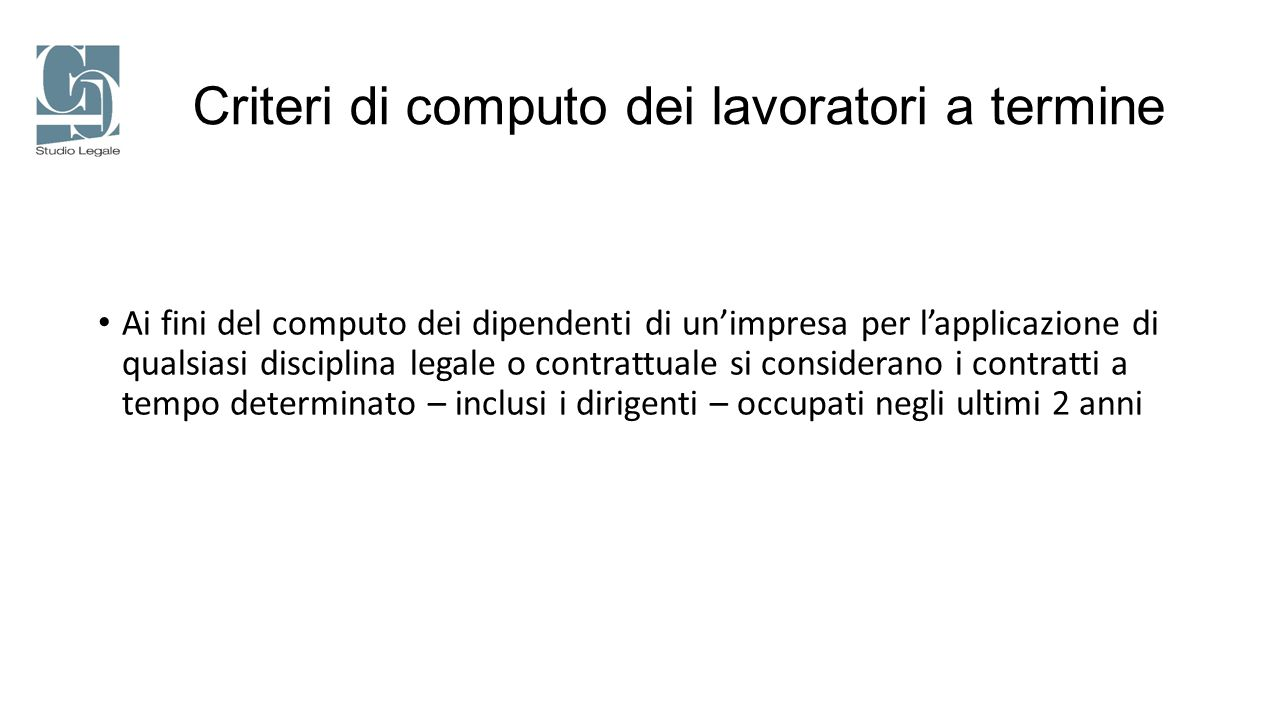 Criteri di computo dei lavoratori a termine
