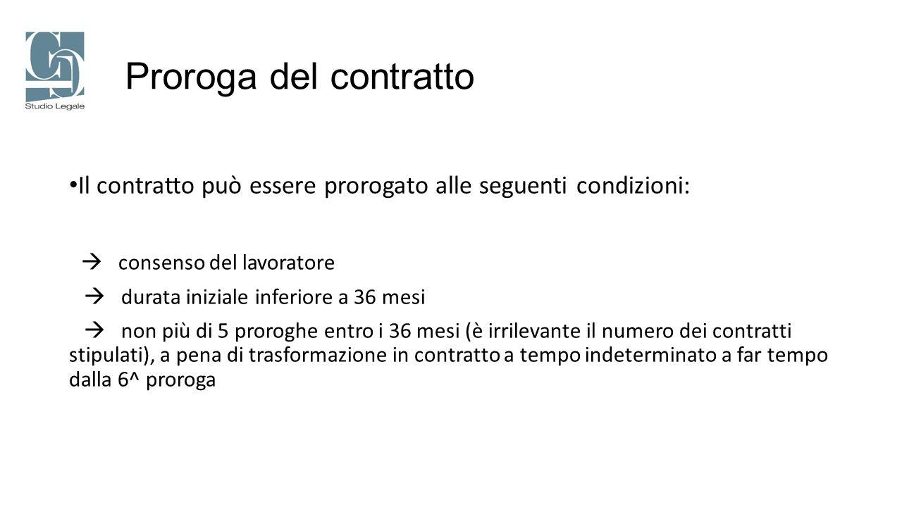 Proroga del contratto Il contratto può essere prorogato alle seguenti condizioni:  consenso del lavoratore.