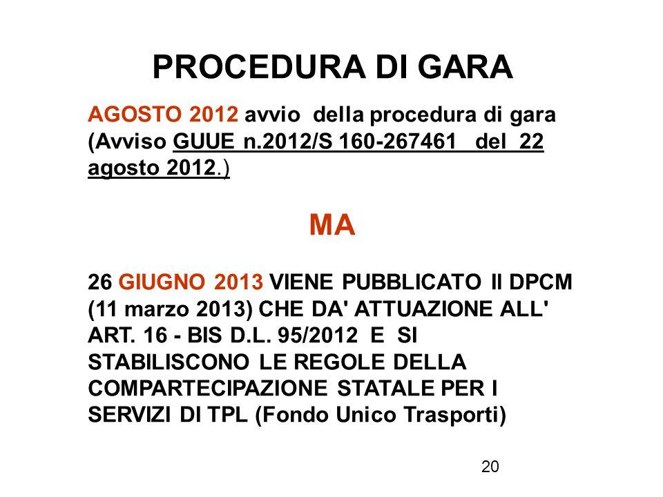 PROCEDURA DI GARA AGOSTO 2012 avvio della procedura di gara (Avviso GUUE n.2012/S 160-267461 del 22 agosto 2012.)