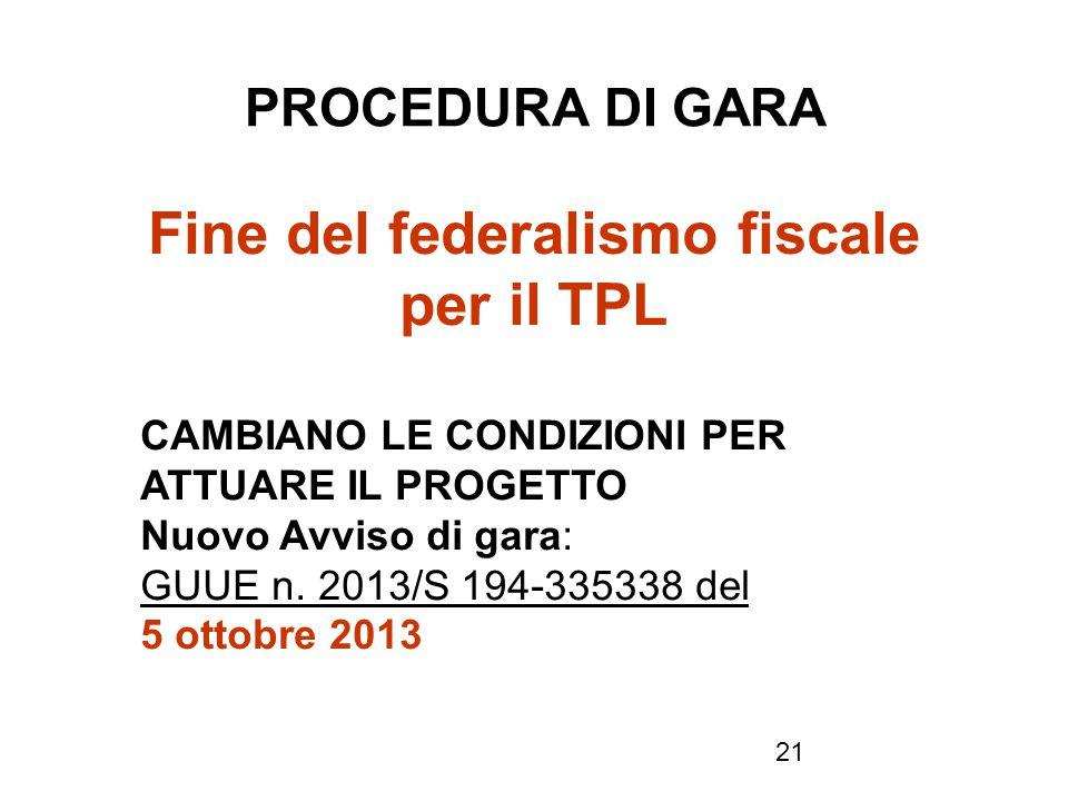 Fine del federalismo fiscale per il TPL