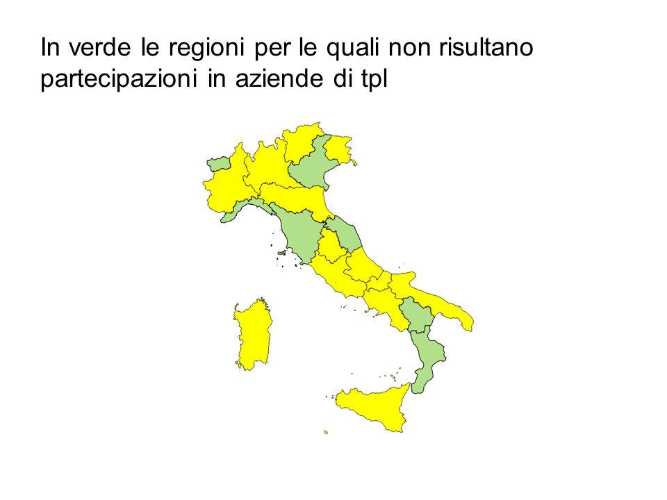 In verde le regioni per le quali non risultano partecipazioni in aziende di tpl