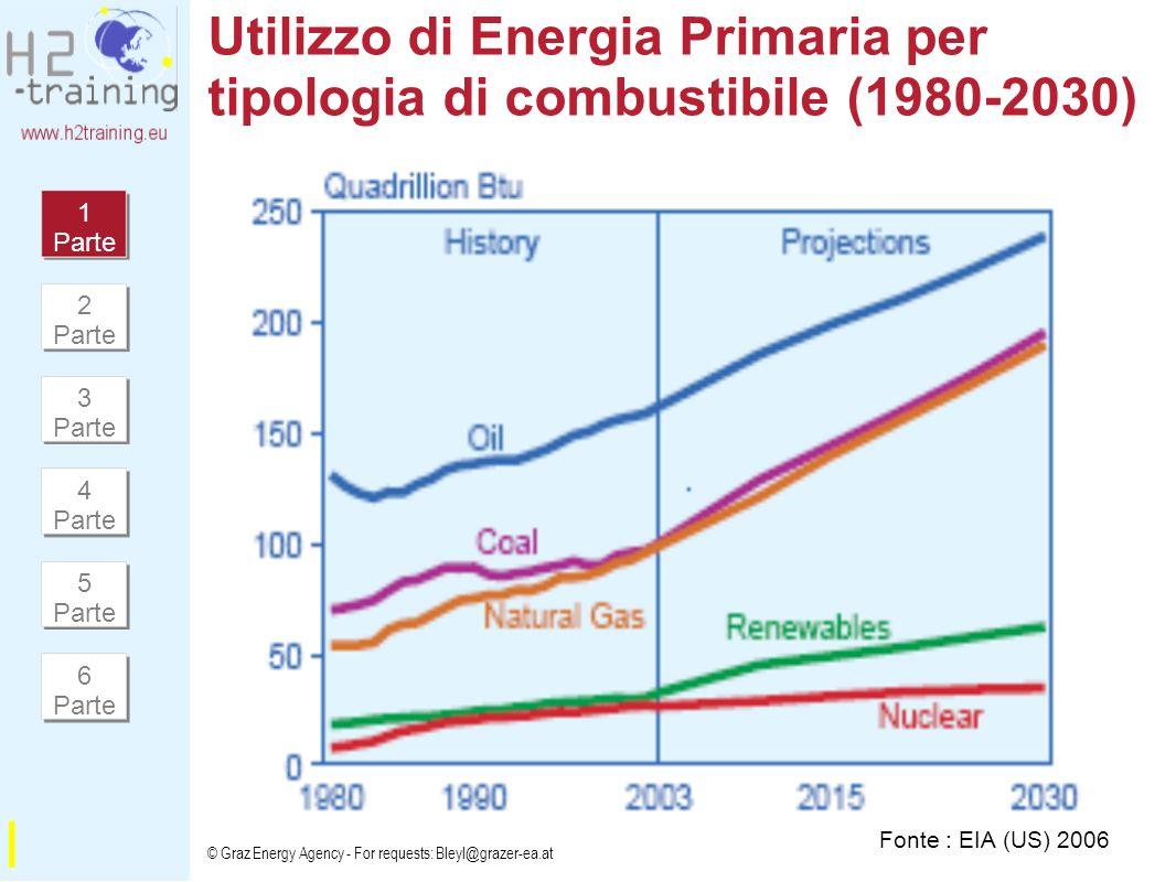 Utilizzo di Energia Primaria per tipologia di combustibile (1980-2030)