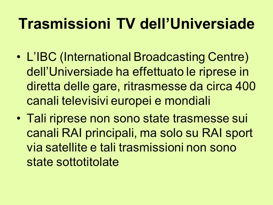 Trasmissioni TV dell'Universiade