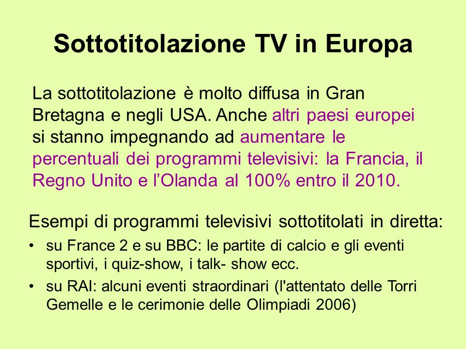 Sottotitolazione TV in Europa