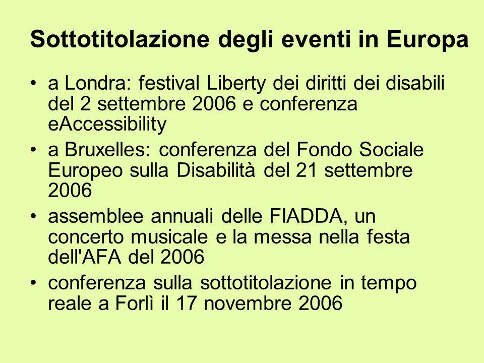 Sottotitolazione degli eventi in Europa