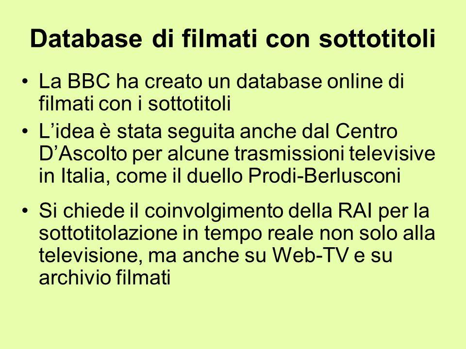 Database di filmati con sottotitoli