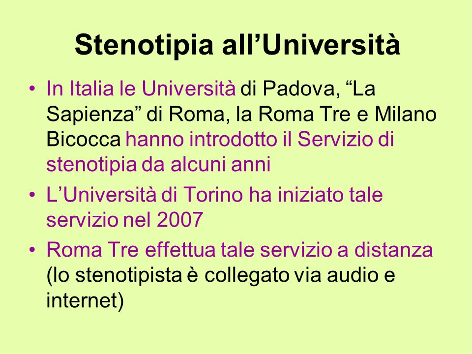 Stenotipia all'Università