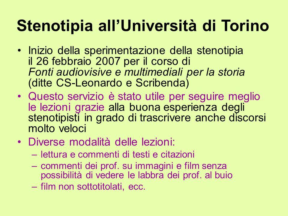 Stenotipia all'Università di Torino