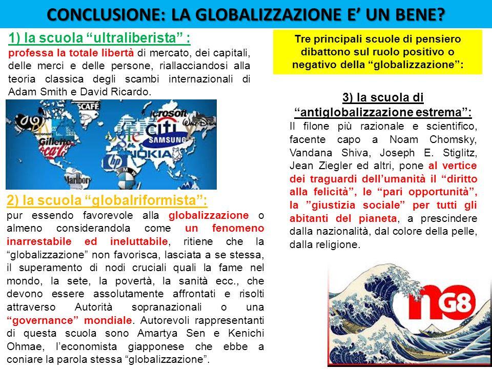 CONCLUSIONE: LA GLOBALIZZAZIONE E' UN BENE