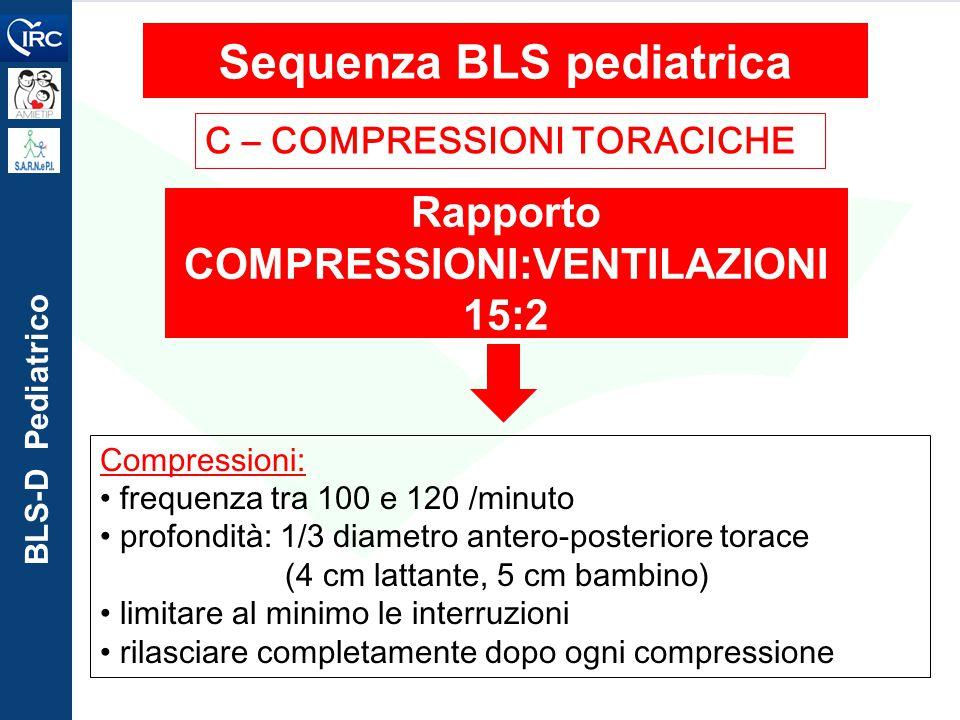 Sequenza BLS pediatrica Rapporto COMPRESSIONI:VENTILAZIONI