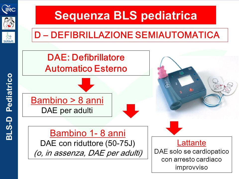 Sequenza BLS pediatrica DAE: Defibrillatore Automatico Esterno