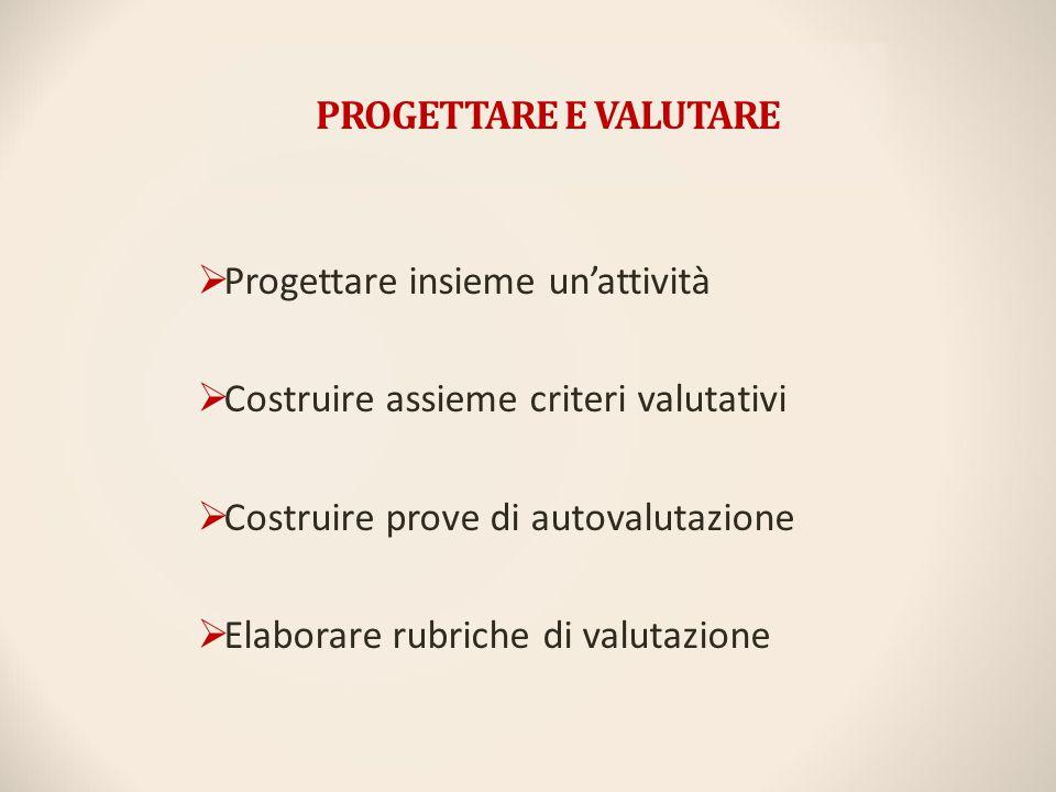 PROGETTARE E VALUTARE Progettare insieme un'attività. Costruire assieme criteri valutativi. Costruire prove di autovalutazione.