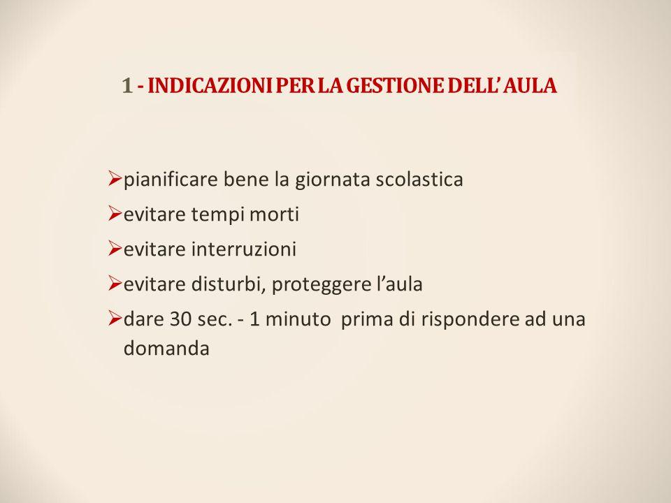 1 - INDICAZIONI PER LA GESTIONE DELL' AULA
