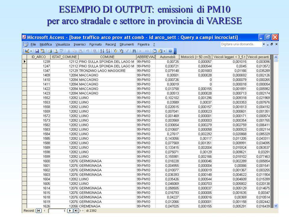 ESEMPIO DI OUTPUT: emissioni di PM10