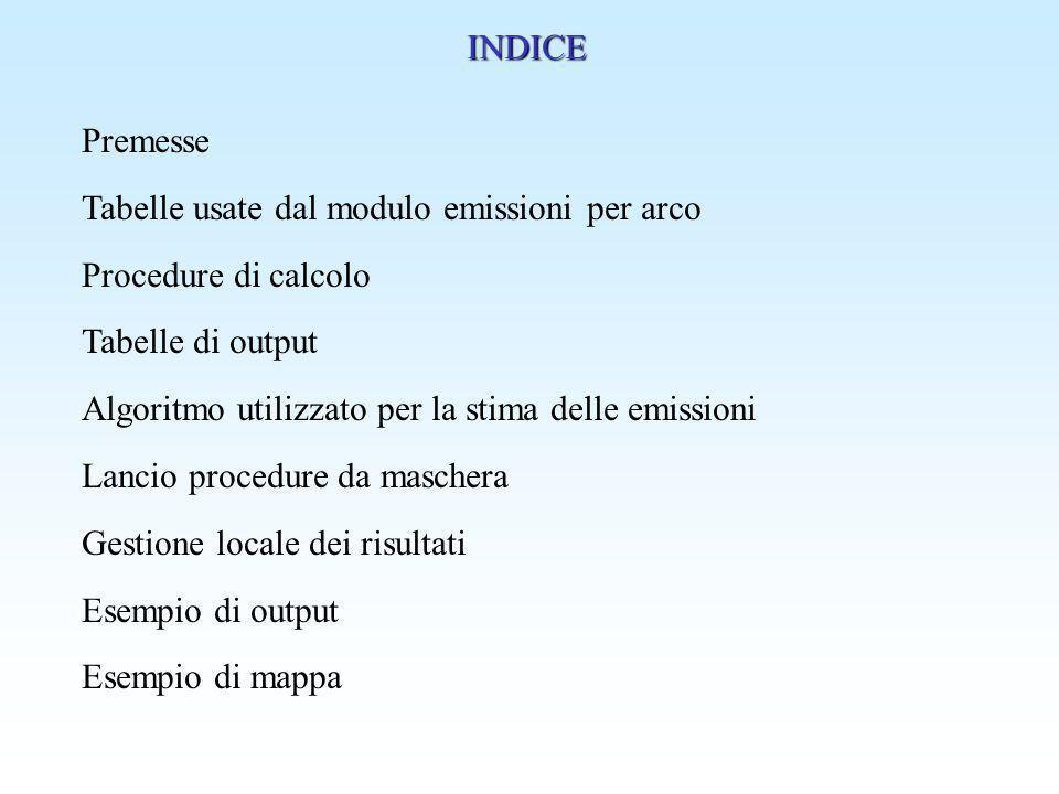 INDICE Premesse. Tabelle usate dal modulo emissioni per arco. Procedure di calcolo. Tabelle di output.