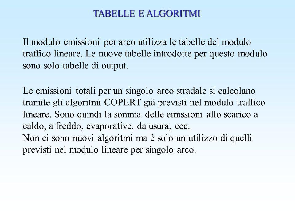 TABELLE E ALGORITMI Il modulo emissioni per arco utilizza le tabelle del modulo.