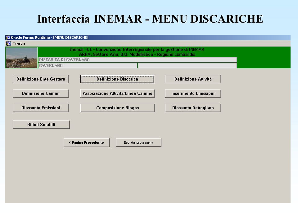 Interfaccia INEMAR - MENU DISCARICHE