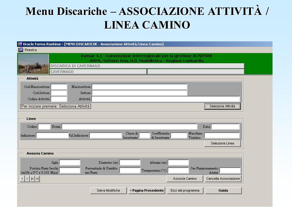 Menu Discariche – ASSOCIAZIONE ATTIVITÀ / LINEA CAMINO