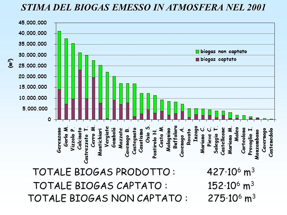 STIMA DEL BIOGAS EMESSO IN ATMOSFERA NEL 2001