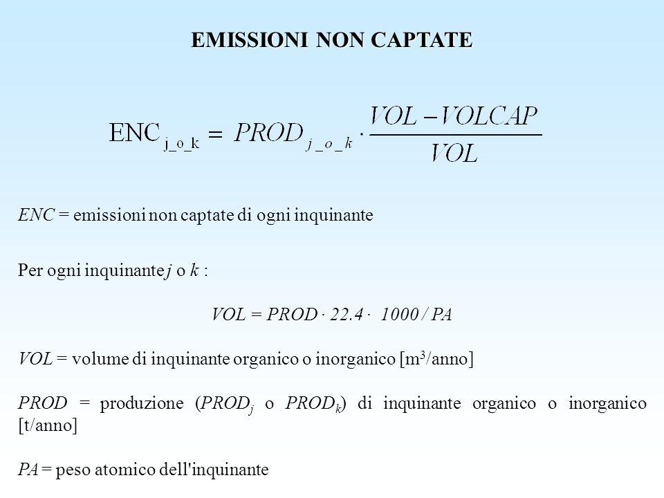 EMISSIONI NON CAPTATE ENC = emissioni non captate di ogni inquinante