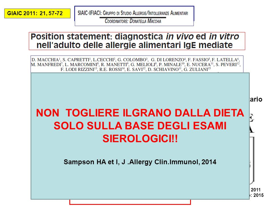 Sampson HA et l, J .Allergy Clin.Immunol, 2014