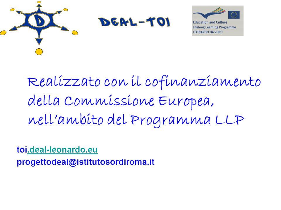 Realizzato con il cofinanziamento della Commissione Europea, nell'ambito del Programma LLP