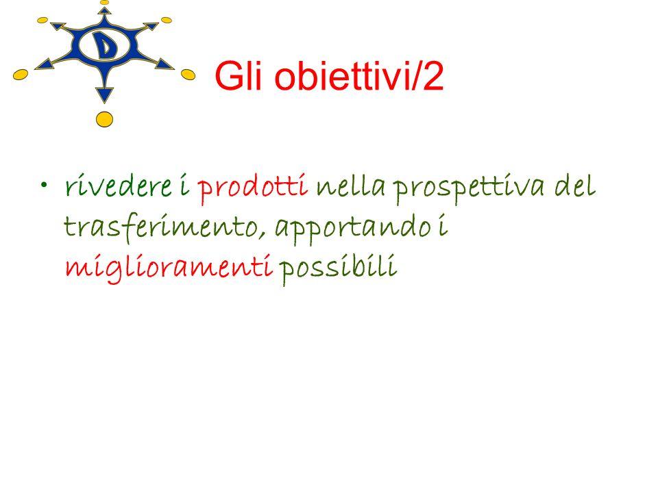 Gli obiettivi/2 rivedere i prodotti nella prospettiva del trasferimento, apportando i miglioramenti possibili.