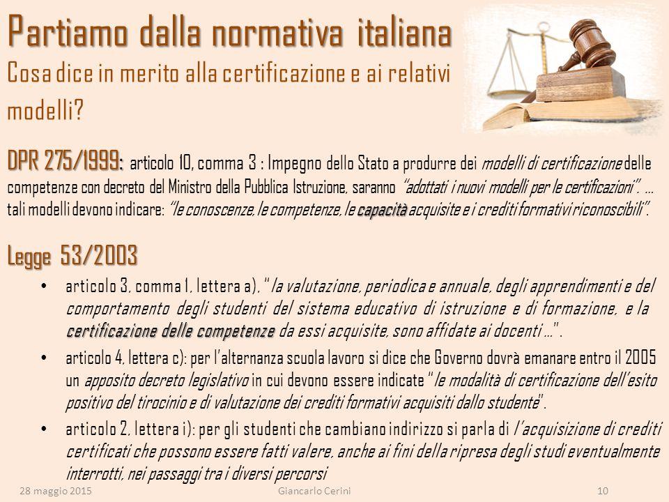 Partiamo dalla normativa italiana Cosa dice in merito alla certificazione e ai relativi modelli